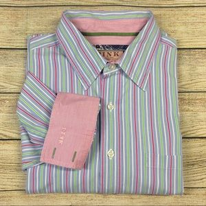 Thomas Pink L Striped Long Sleeve Shirt Flip Cuffs